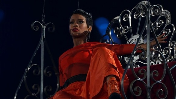 Rihanna performs during the Paralympic Games closing ceremony.