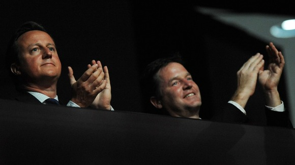 Prime Minister David Cameron and Deputy Prime Minister Nick Clegg at the closing ceremony of the London Paralympic Games
