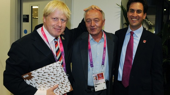 Boris Johnson (left) former mayor Ken Livingstone and Labour leader Ed Miliband at the Olympic Stadium