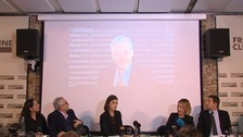 The WikiLeaks founder's address to reporters was projected onto a wall at a London press conference.