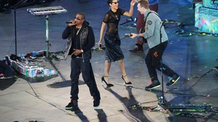 Jay-Z, Rihanna and Chris Martin perform during the Paralympic Games closing Ceremony