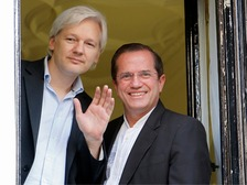 Ecuador's foreign minister Ricardo Patino, seen with Julian Assange after the Australian first entered the Ecuadorian embassy in June 2012.