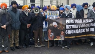 Protestors in support of Paramjeet Singh