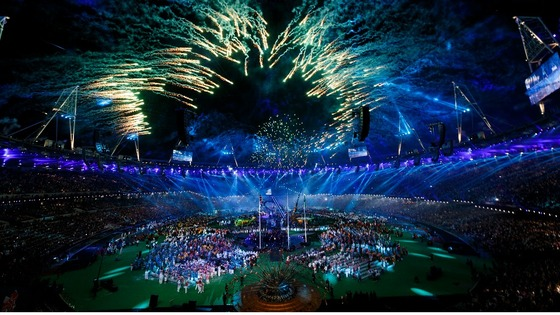 Fireworks explode during the Paralympic Games closing Ceremony 