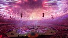 Fireworks are let off to signal the end of the Paralympic Games closing Ceremony
