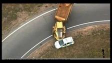 Dramatic footage reveals dumper truck rampage