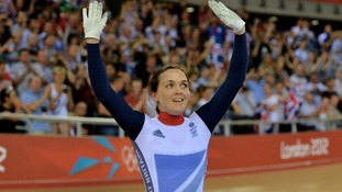 Victoria Pendleton waves to fans after losing her second Sprint final