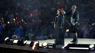 Lissa Hermans sings the national anthem at the London 2012 Paralympic Games Closing Ceremony