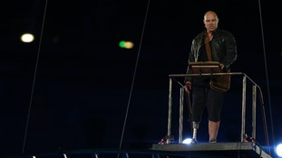 Lance Corporal Rory Mackenzie gives a speech during the Closing Ceremony