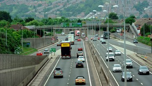 The A1 motorway near Gateshead with Blaydon in the background.