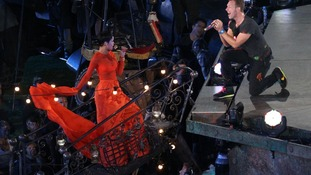 Rihanna performs with Chris Martin of Coldplay during the Paralympic Games closing Ceremony