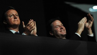 Prime Minister David Cameron and Deputy Prime Minister Nick Clegg at the Olympic Stadium for the closing ceremony