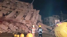 Taiwan earthquake triggers building collapse