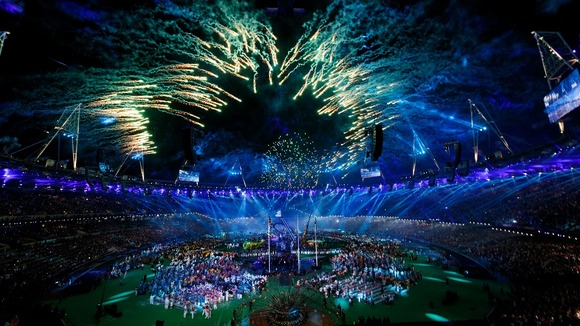 Fireworks explode over the Olympic Stadium