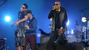 Jay-Z and Rihanna perform during the Closing Ceremony