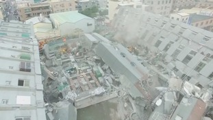 The earthquake has felled many buildings in the city of Tainan