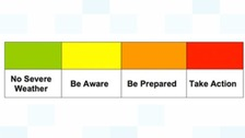 Colour-coded warnings from the Met Office