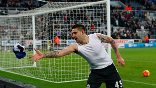 Newcastle United's Aleksandar Mitrovic throws his shirt into the crowd after the Barclays Premier League match at St James' Park, Newcastle.