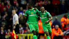 Sunderland's Jermain Defoe (right) celebrates scoring his side's second goal.