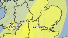 Area covered by Saturday's yellow weather warning.