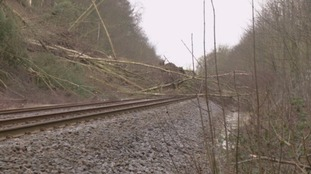 Landslide on the rail line between Hexham and Carlisle
