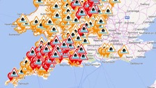 Red flood warnings in place across the South West