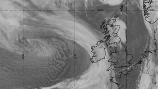 The distinctive swirl of cloud to the west of Ireland on Sunday morning is Storm Imogen.