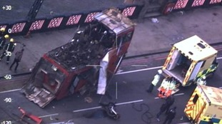 Aerial images of the exploded bus