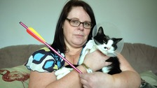 Lionel the cat with owner Sharon O'Mahoney