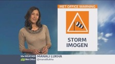 Strong winds and showers as Storm Imogen moves in
