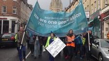 500 march in protest of government plans to change junior doctor contracts