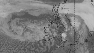 The distinctive swirl of cloud to the west of Ireland on Sunday evening is Storm Imogen.