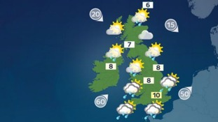 Weather: Severe gales in the south with squally showers, calmer elsewhere.