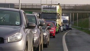 Queues of traffic on the M11.