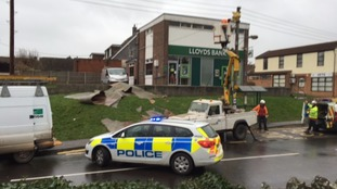 A bank in Yatton has had its roof blown off