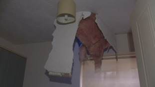 Hole in roof of Bristol flats
