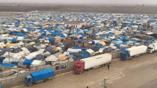 The newly built camp by Turkey on the Syrian side of border where thousands of refugees remain stranded.