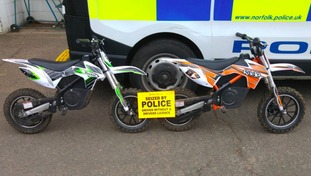 The mini motos seized in Norfolk.