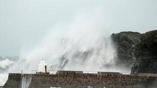 Waves crashing at Portreath