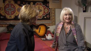 Julie Etchingham with her cousin Kathy, who returns to the flat she shared with her boyfriend Jimi Hendrix 40 years ago.