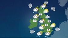 Weather: Sunshine and showers today, with winds easing