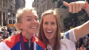 Rowing gold medallists Kate Copeland and Helen Glover bask in the public adoration