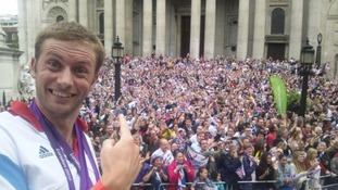 TeamGB cyclist Jason Kenny enjoys the London crowds