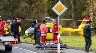 A helicopter at the scene of the crash.