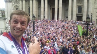 TeamGB cyclist Jason Kenny enjoys the London crowds.