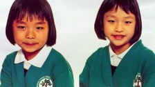Sisters Lily and Shelly Wu, aged seven and six, who were struck by Junior's vehicle.