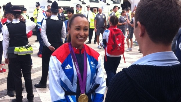 Olympic poster girl, Jess Ennis, at the Olympic parade
