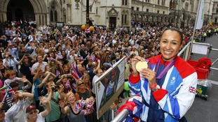 Heptathlete Jessica Ennis takes part in a parade passed the Royal Courts of Justice, London.