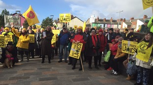 Protesters gather in Blackpool