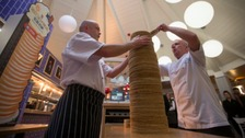 The stack consisted of 213 pancakes, made up of 14 bags of flour, 700 eggs and 26 pints of milk.